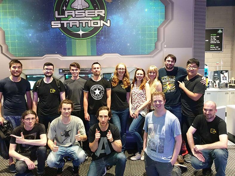 Team photo at Laser Tag