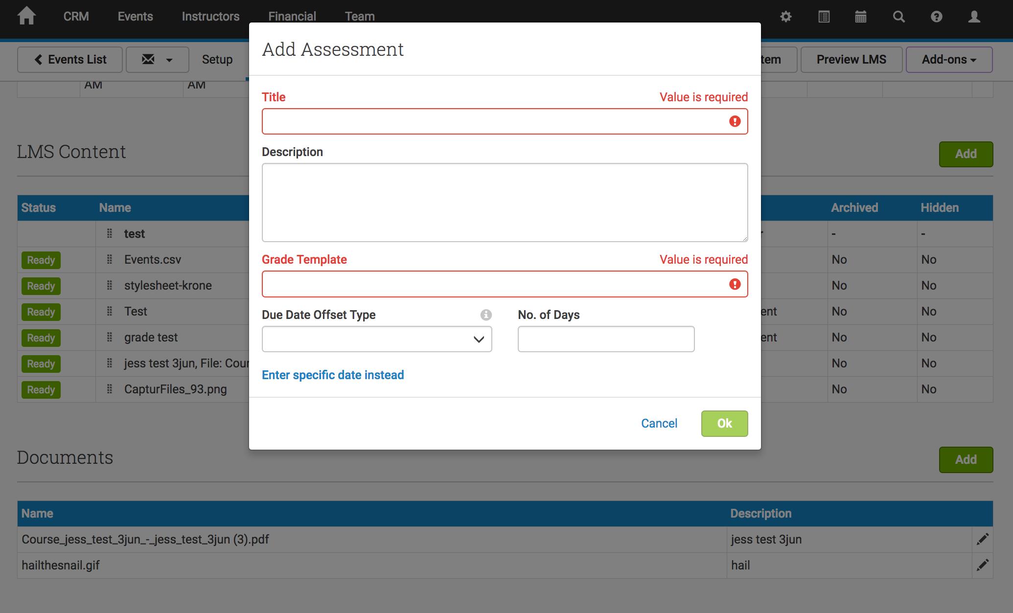 Add assessment