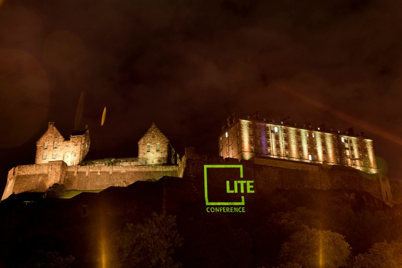 LITE projection on to Castle Rock Picture by Gary Doak Photography 8th Sept 2016
