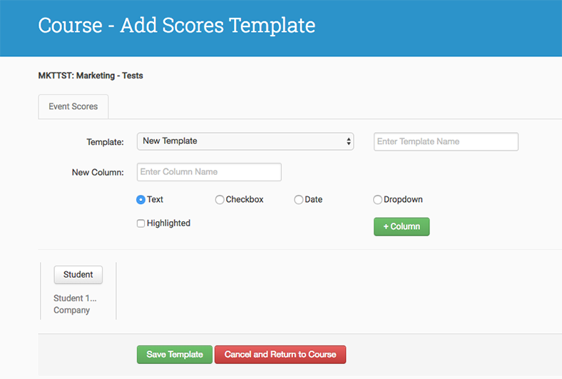 Scores templates
