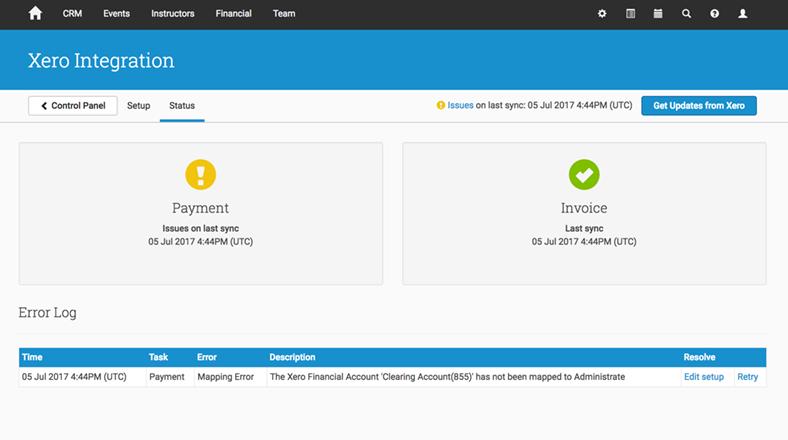 Xero Payments Error Log