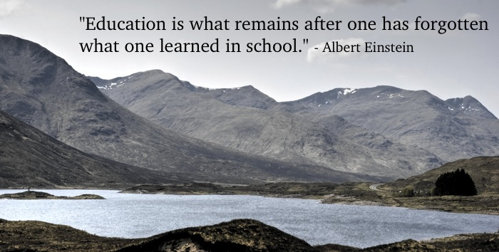 photo of scotland with einstein quote