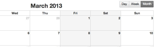 Our event calendar support flexible non-working days