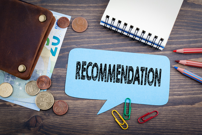 Recommendation speech bubble