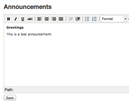 Edit announcements in richtext