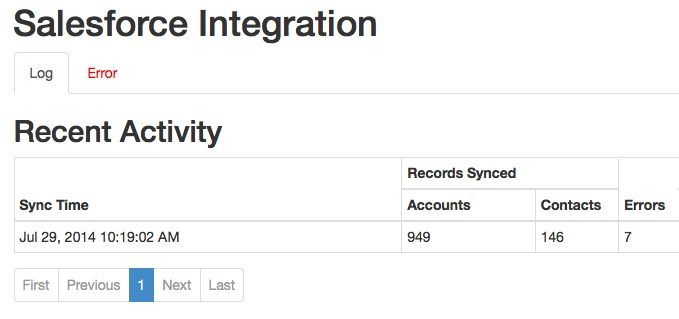 The Administrate Salesforce Integration records all activity within a handy log.