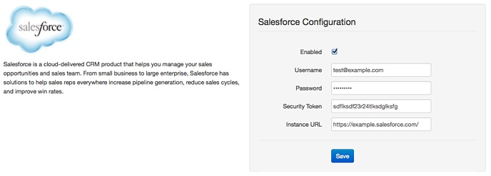 Start setting up Salesforce by entering your API key details within Administrate