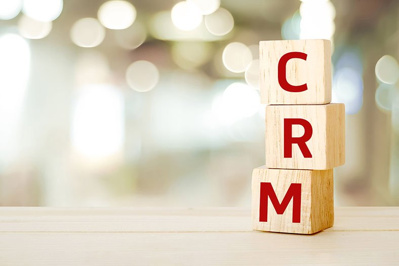CRM spelled out in blocks