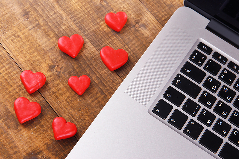 Love hearts and laptop