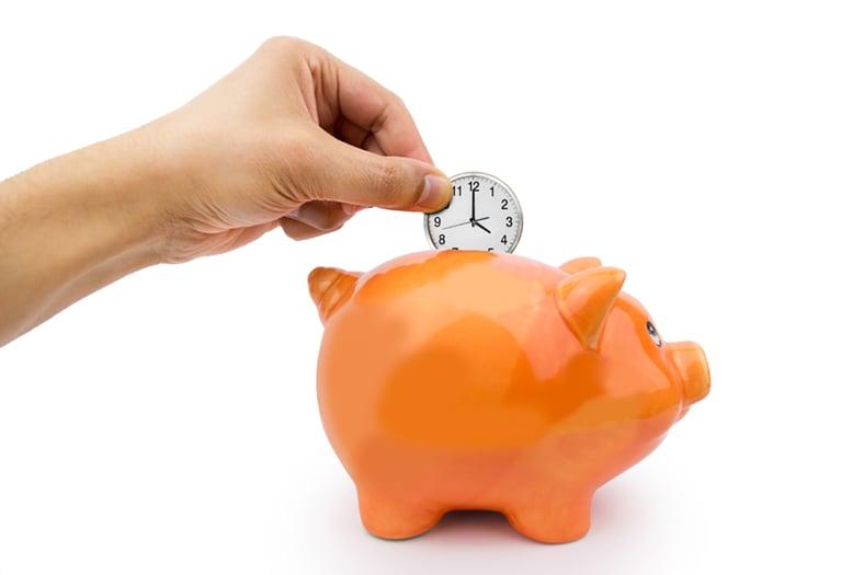Time saving piggy bank