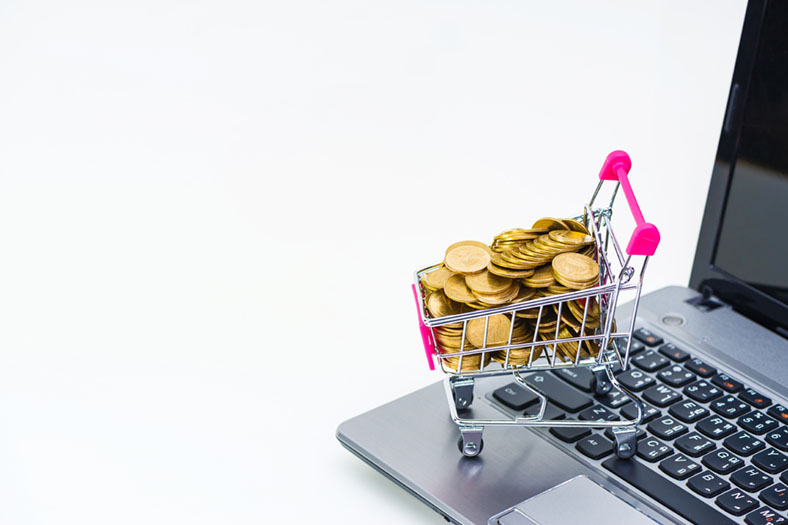 Small trolley full of money