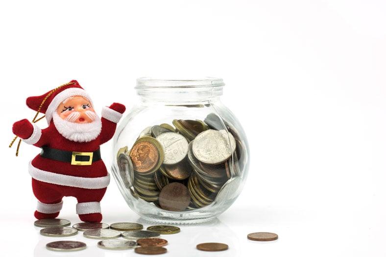 Santa and Money Jar