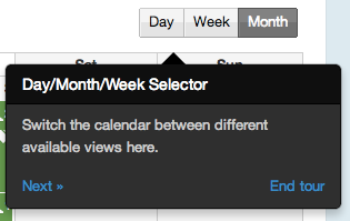 Take a built-in tour of the calendar's functionality