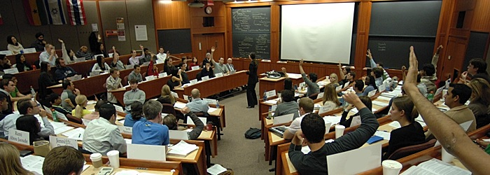 students participating in class